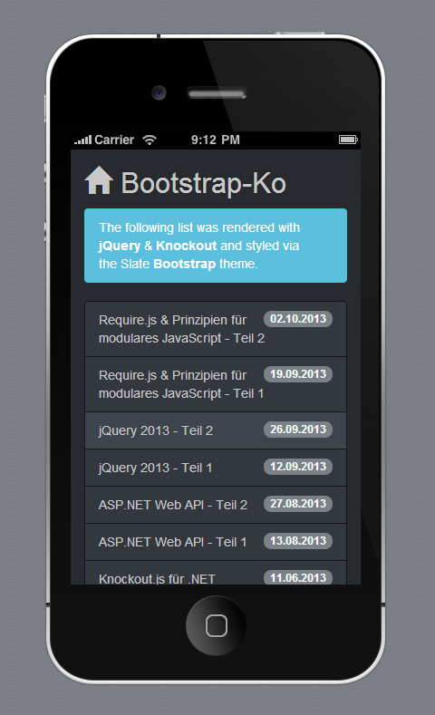 cordova_bootstrap_knockout Template Application Hybride on